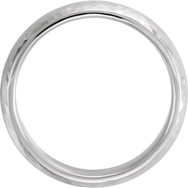 10K White 6 mm Half Round Band with Hammer Finish Size 10.5
