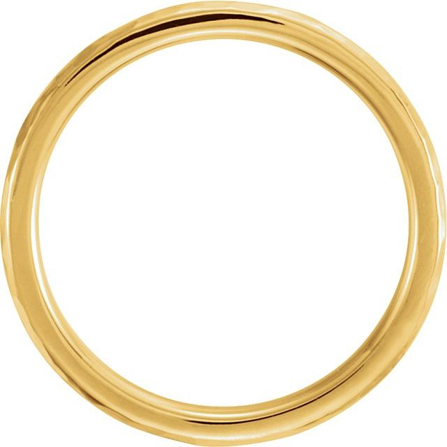 14K Yellow 3 mm Half Round Band with Hammer Finish Size 7