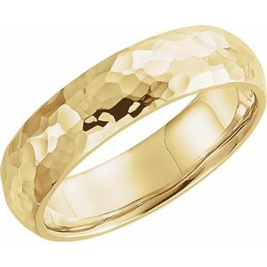 14K Yellow 5 mm Half Round Band with Hammer Finish Size 10