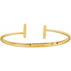 14K Yellow Hinged Cuff Bar Bracelet 7""