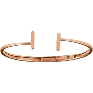 14K Rose Hinged Cuff Bar Bracelet 7""