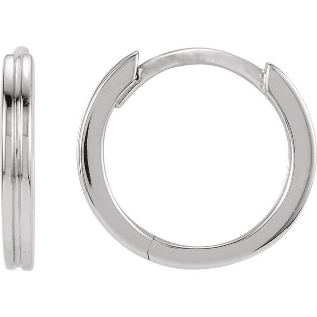 14K White 10.3 mm Grooved Huggie Earrings