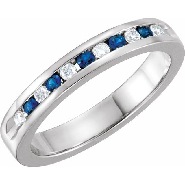 Blue Sapphire & 1/10 CTW Diamond Classic Channel-Set Anniversary Band