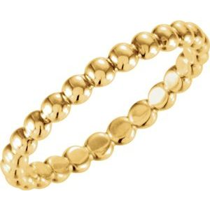 14K Yellow 2.5 mm Beaded Stackable Ring Size 8