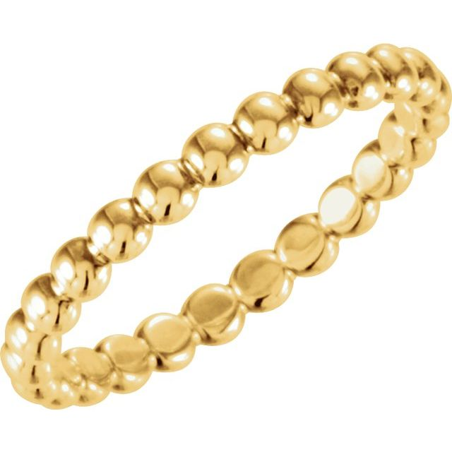 14K Yellow 2.5 mm Stackable Bead Ring Size 7