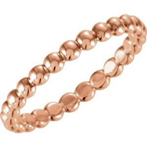 14K Rose 2.5 mm Beaded Stackable Ring Size 8