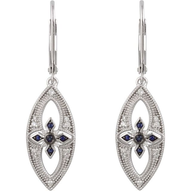 Sterling Silver Blue Sapphire & 1/6 CTW Diamond Lever Back Earrings