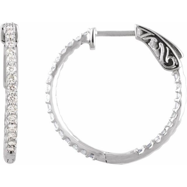 Sterling Silver Cubic Zirconia Inside-Outside 23 mm Hoop Earrings