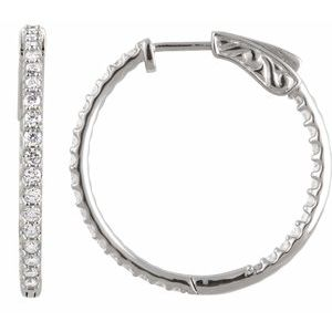 Sterling Silver Cubic Zirconia Inside-Outside 26.5 mm Hoop Earrings
