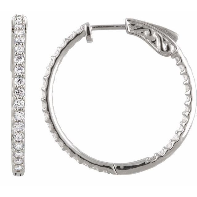 Sterling Silver Cubic Zirconia Inside-Outside 26.5 mm Hoop Earrings