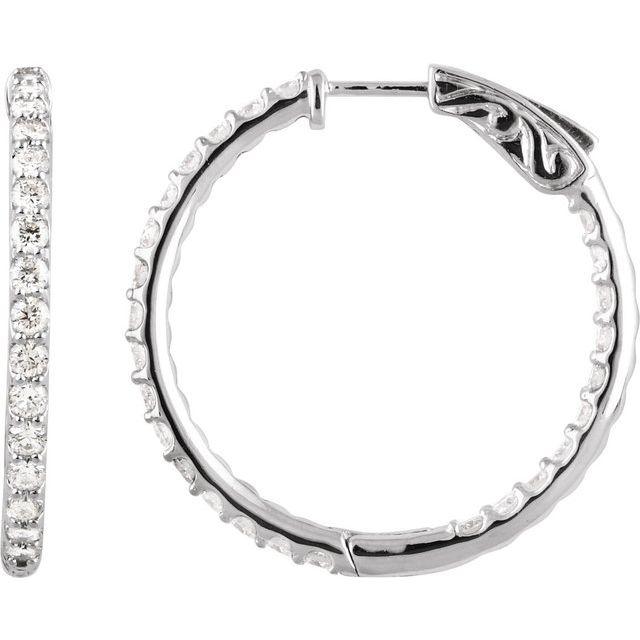 14K White 2 CTW Diamond Inside-Outside 29.5 mm Hoop Earrings
