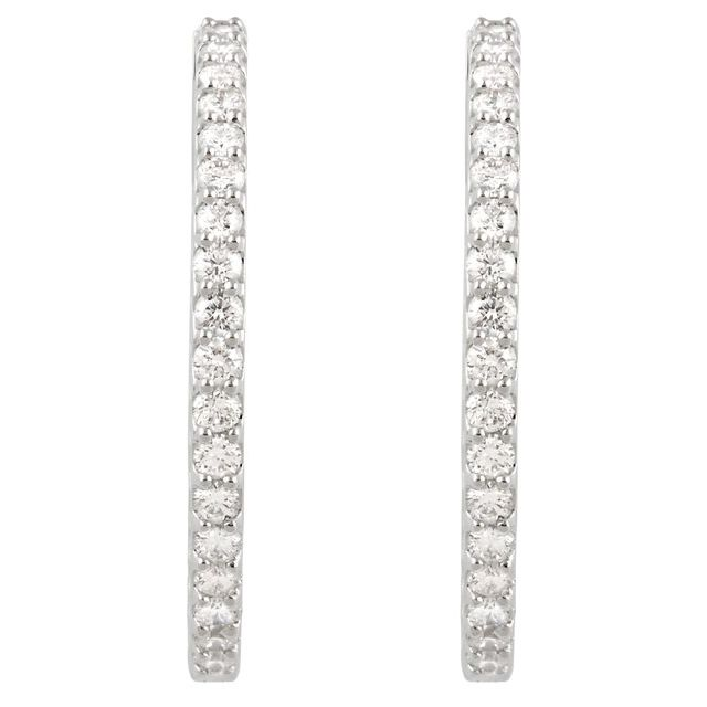 14K White 3 CTW Diamond Inside-Outside 34.5 mm Hoop Earrings