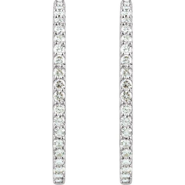 14K White 5 CTW Diamond Inside-Outside 41.5 mm Hoop Earrings