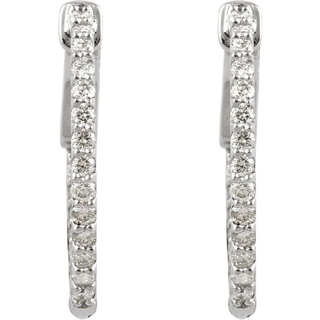 14K White 1/2 CTW Diamond Inside-Outside 19 mm Hoop Earrings