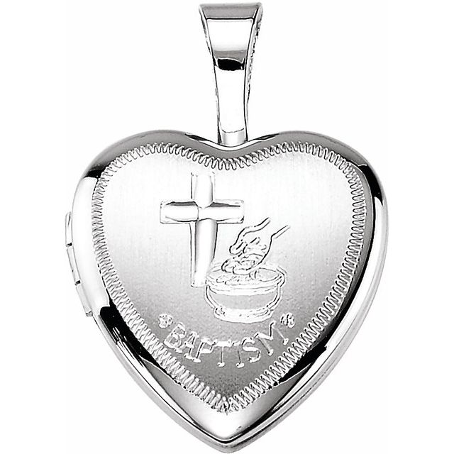 Sterling Silver 12.5x12 mm Baptism Heart Locket
