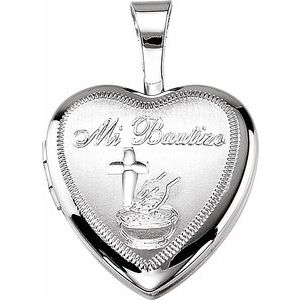 "Sterling Silver ""Mi Bautizo"" Heart Locket"