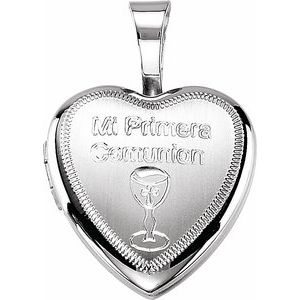 "Sterling Silver ""Mi Primera Communion"" Heart Locket"