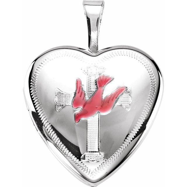 Sterling Silver Dove & Cross Heart Locket with Epoxy