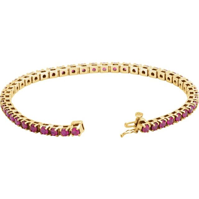 14K Yellow Natural Ruby Line 7