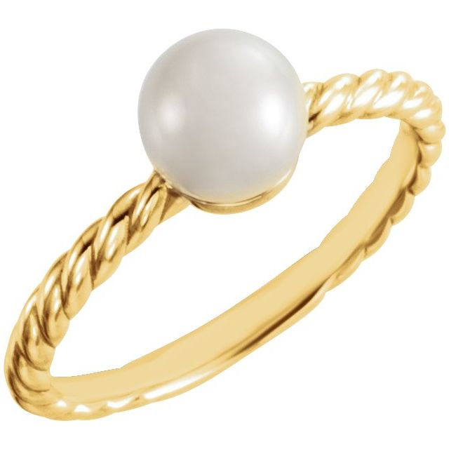 14K Yellow 7.5-8 mm Freshwater Cultured Pearl Ring