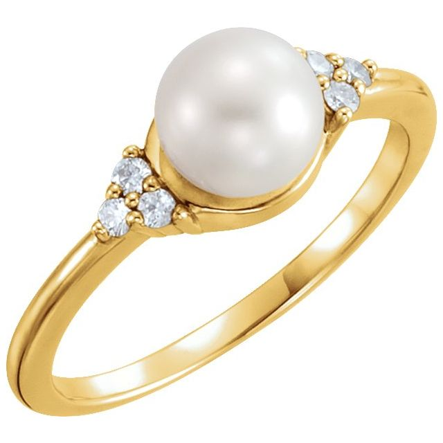 14K Yellow 6.5-7 mm Freshwater Cultured Pearl & .09 CTW Diamond Ring
