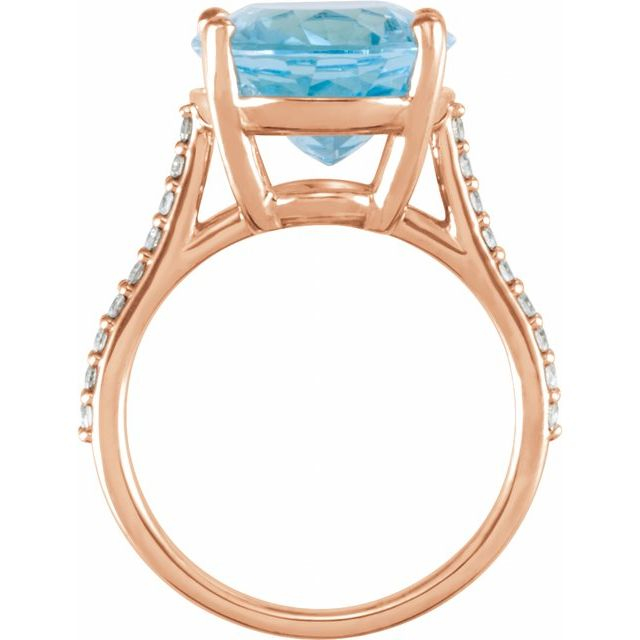 14K Rose Sky Blue Topaz & 1/4 CTW Diamond Ring