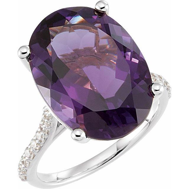 14K White Amethyst & 1/4 CTW Diamond Ring