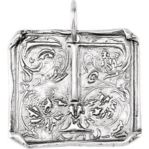 """Sterling Silver Initial """"T"""" Vintage-Inspired Pendant"""