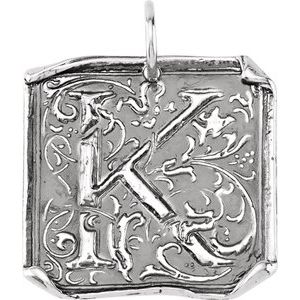 "Sterling Silver Initial ""K"" Vintage-Inspired Pendant"
