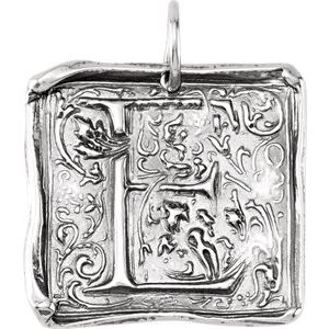"""Sterling Silver Initial """"E"""" Vintage-Inspired Pendant"""