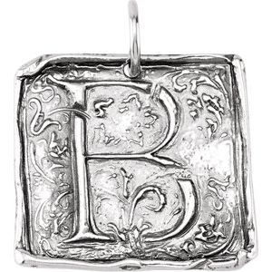 """Sterling Silver Initial """"B"""" Vintage-Inspired Pendant"""