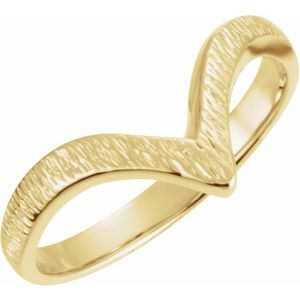 "14K Yellow Grooved ""V"" Ring"