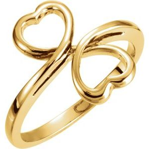 14K Yellow 14 mm Double Heart Ring