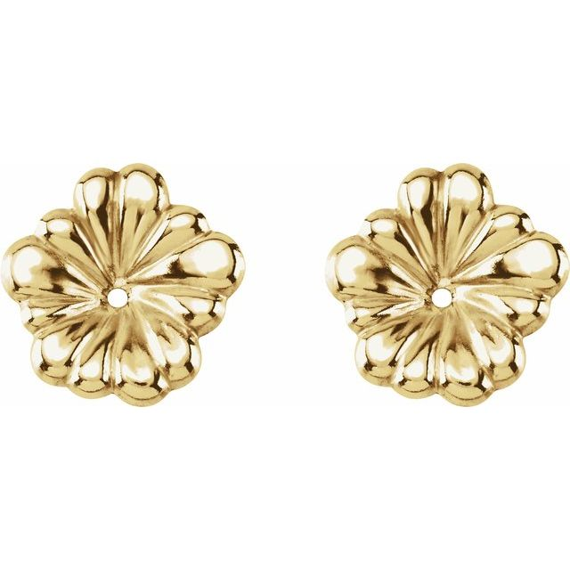 14K Yellow Floral-Inspired Earring Jackets