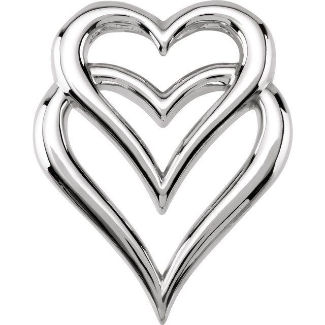14K White Double Heart Slide Pendant