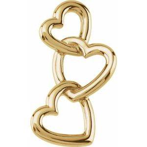 14K Yellow 24.5x13 mm Linked Hearts Pendant