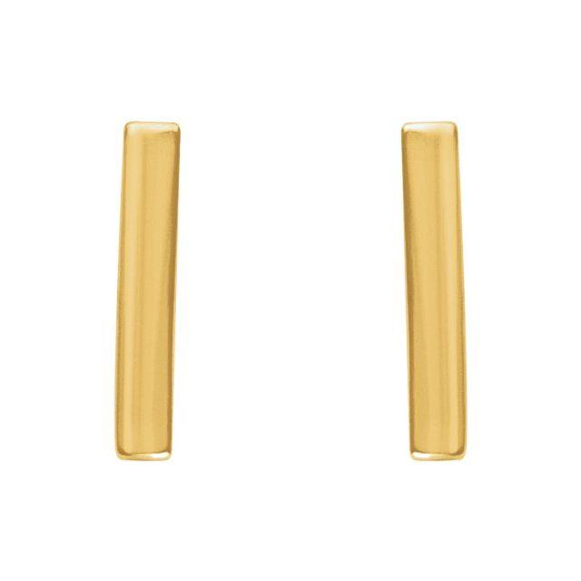14K Yellow Vertical Bar Earrings