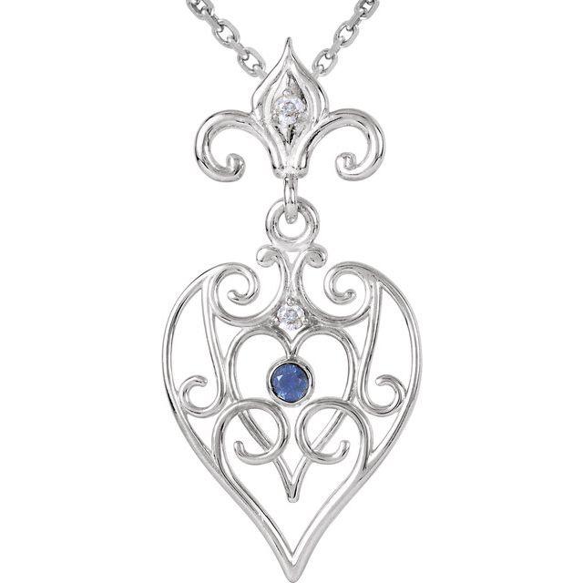 Sterling Silver Blue Sapphire & .02 CTW Diamond 18