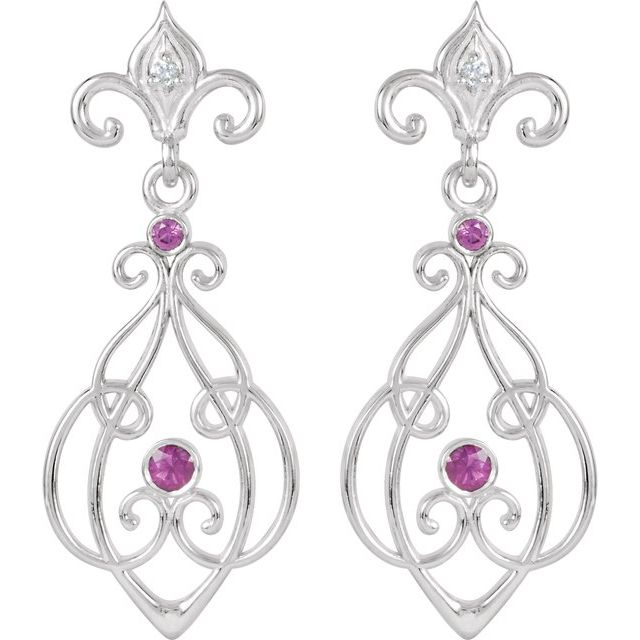 Sterling Silver with 14K White Post Ruby & .025 CTW Diamond Earrings