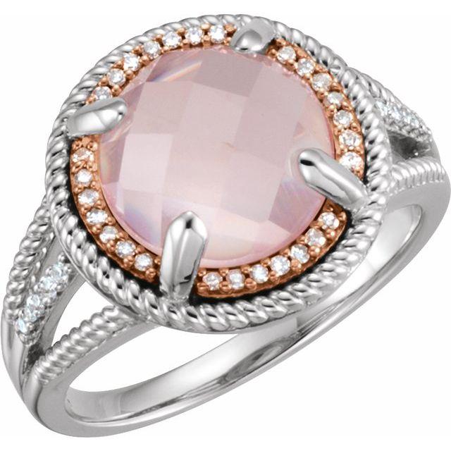 14K Rose Gold-Plated Sterling Silver Rose Quartz & 1/8 CTW Diamond Ring
