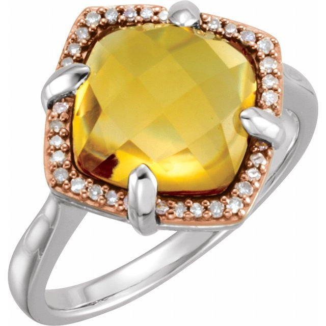 14K Rose Gold-Plated Sterling Silver Citrine & 1/8 CTW Diamond Ring Size 6