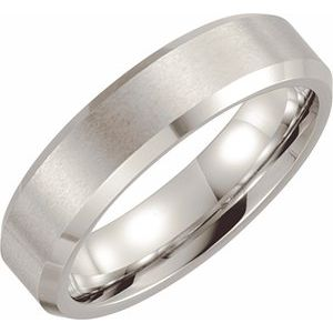 Cobalt 6 mm Beveled-Edge Band with Satin Finish Size 11.5