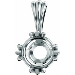 28984 / Continuum Sterling Silver / 4X Mm / Round Triple Prong Basket Pendant