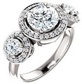 14K White 7.4 mm Round 3/4 CTW Diamond Semi-Set Engagement Ring