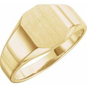 14K Yellow 9x7 mm Octagon Signet Ring
