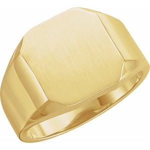14K Yellow 12x10 mm Octagon Signet Ring