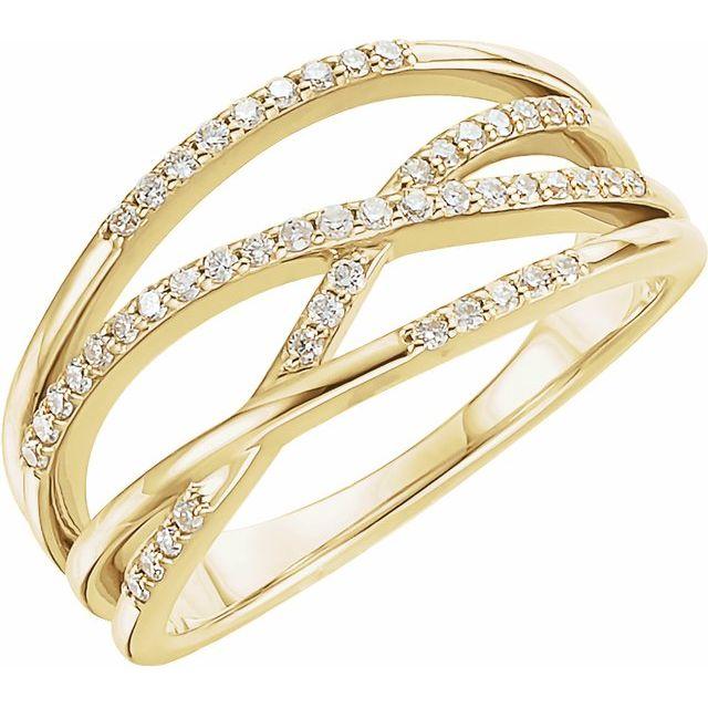 14K Yellow 1/5 CTW Diamond Criss-Cross Ring