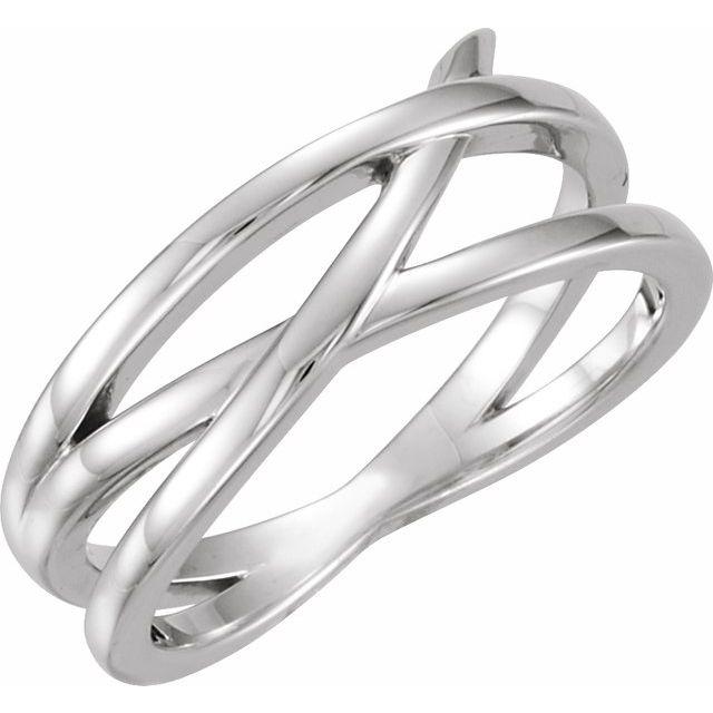 14K White Criss-Cross Ring