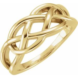 14K Yellow 9 mm Criss-Cross Ring
