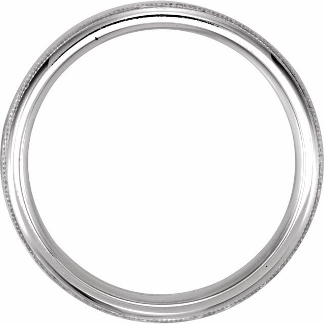 14K White 5 mm Half Round Band with Hammer Finish & Milgrain Size 11